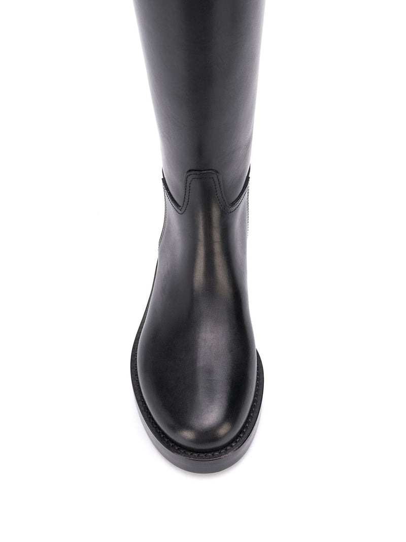 WOMENS CLASSIC FLAT HORSE RIDING ZIP BOOTS - VIT LUCIDO NERO