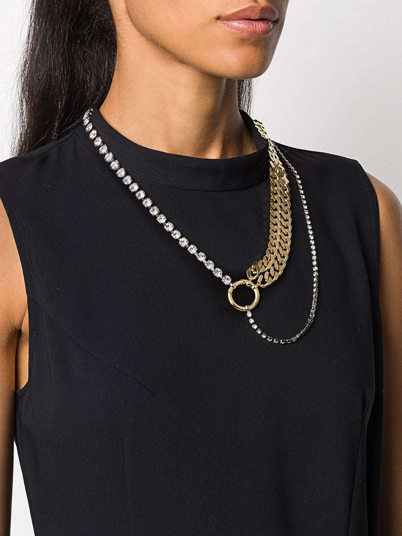 CHAIN AND CRYSTAL ASYMMETRIC NECKLACE
