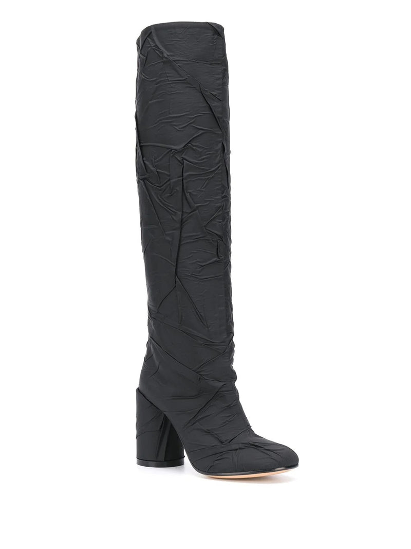 Crushed Nylon knee-high boots