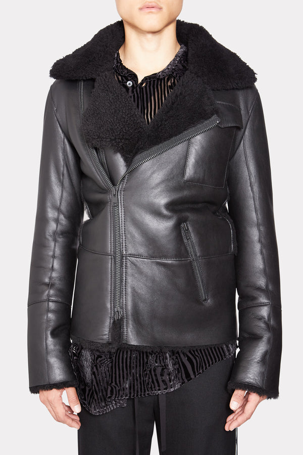 SHEARLING LEATHER LONG JACKET