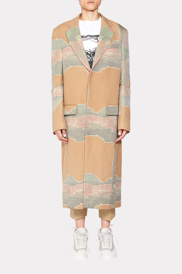 KHAKI EMBROIDERED SINGLE BUTTONED COAT