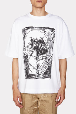 White Sketch Print T-shirt