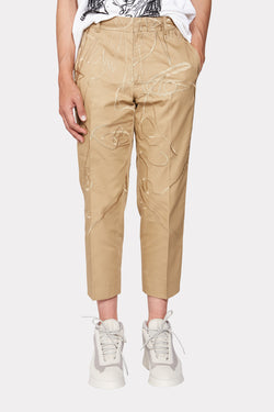 Dark Khaki Embroidered Pants