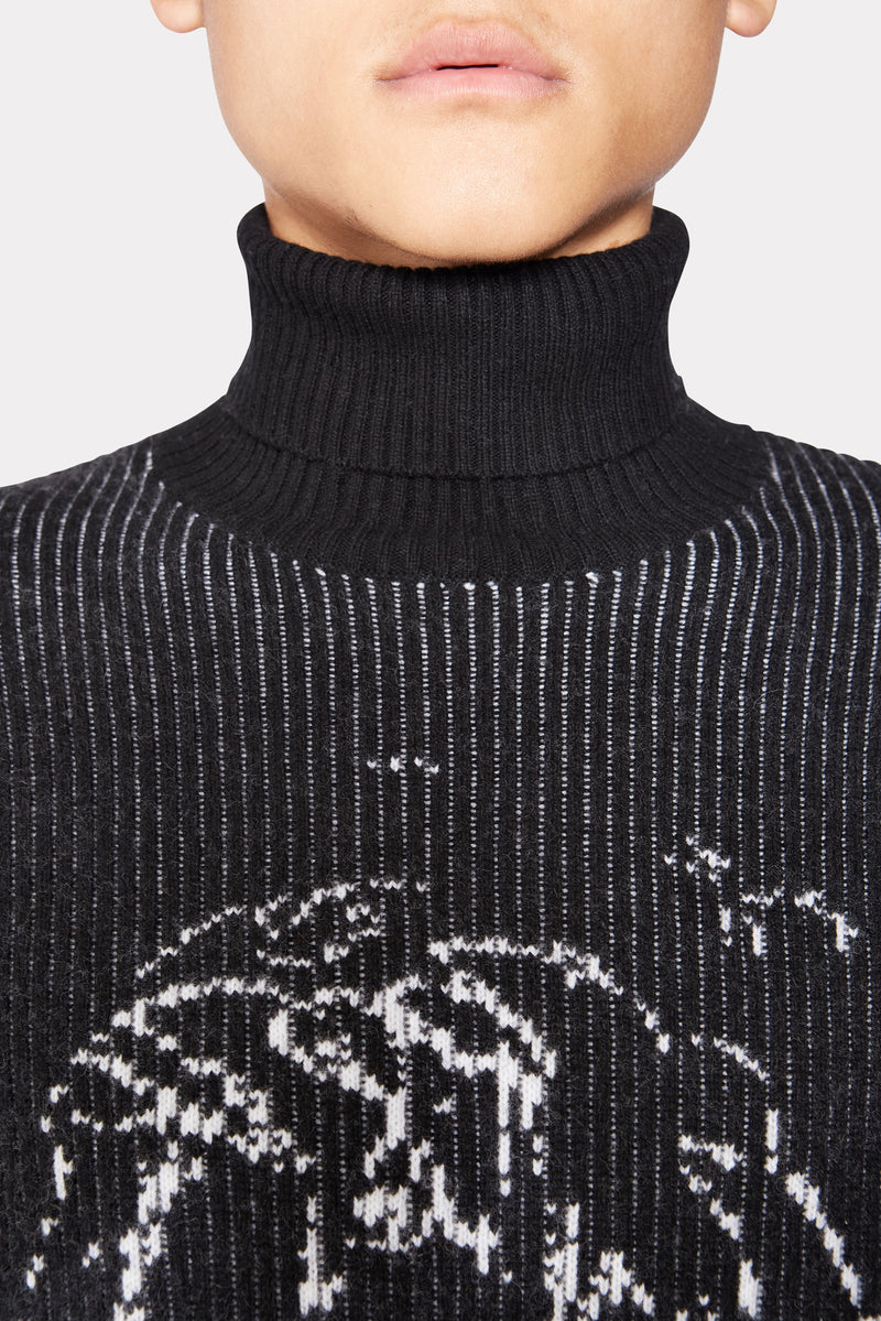 SKETCH PATTERN KNITTED TURTLENECK