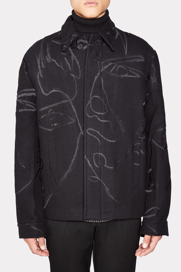 SKETCH EMBROIDERED WOOL JACKET