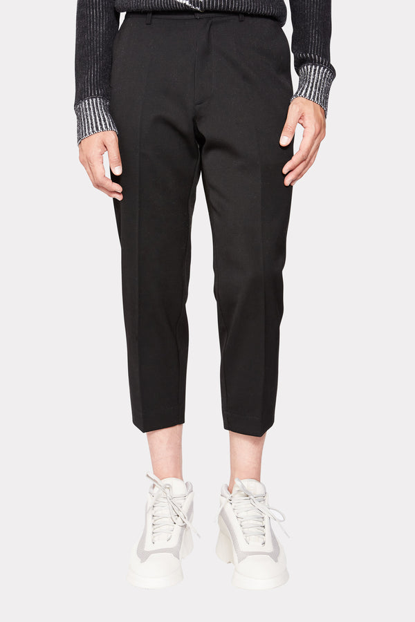BLACK WOOL CROPPED PANTS