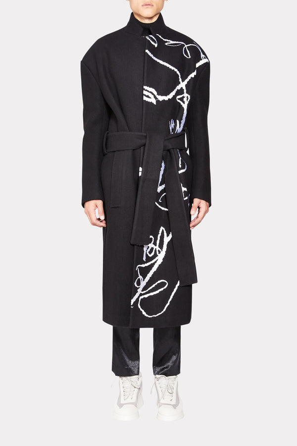 CONSTRASTING SKETCH EMBROIDERED COAT