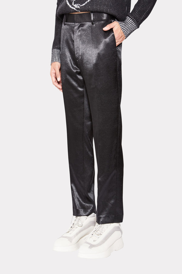 SHINY BLACK STRAIGHT TROUSERS