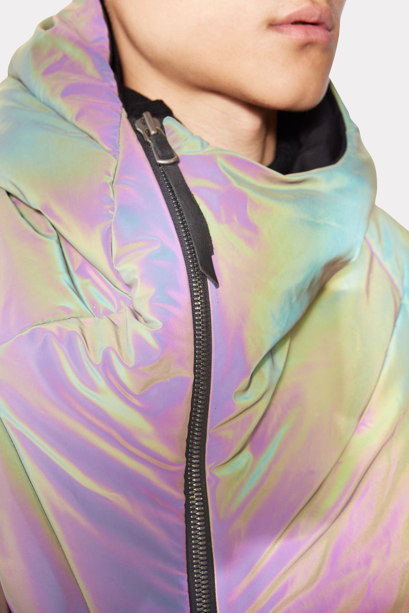 Reflective Distortion Curved Hooded Coat