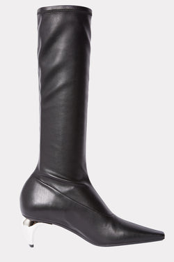 BLACK KNEE-HIGH SLICER BOOTS