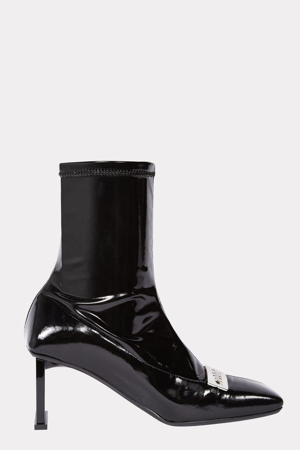 SHINY BLACK BUCKLE SQUARE ANKLE BOOTS