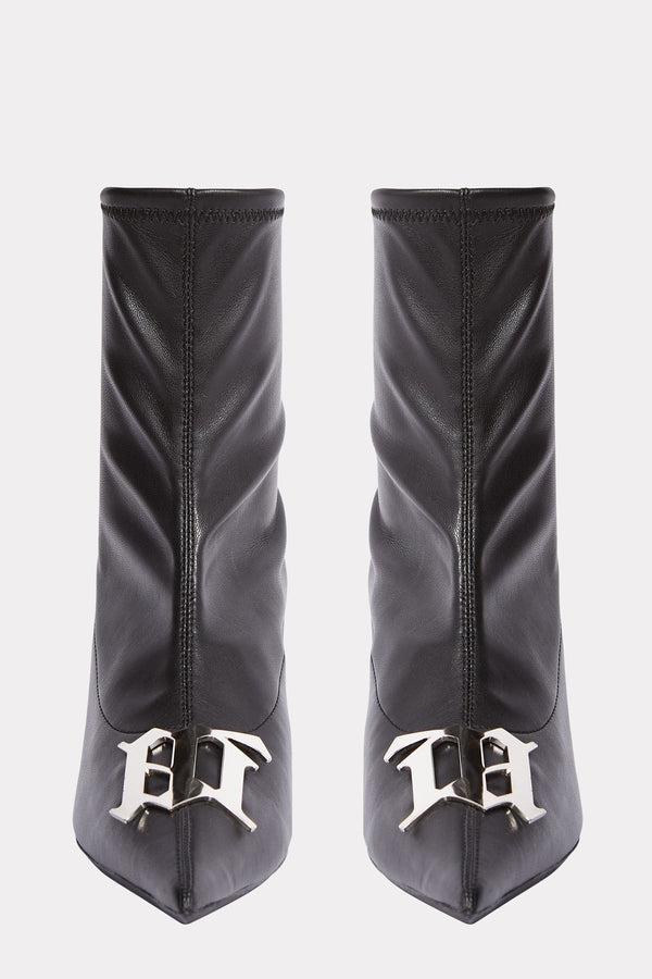 M LOGO BUCKLE ANKLE BOOTS
