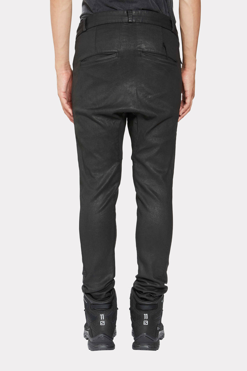 BLACK COATED STRAIGHT FIT TROUSERS