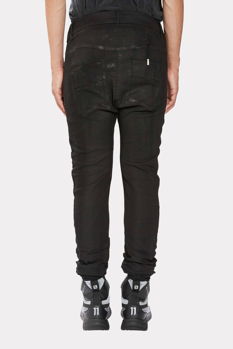 BLACK VINYL COATED TIGHT FIT TROUSERS