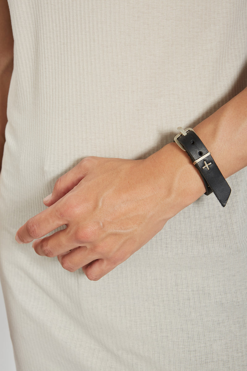 BLACK SMALL SILVER + SKINNY WRISTBAND