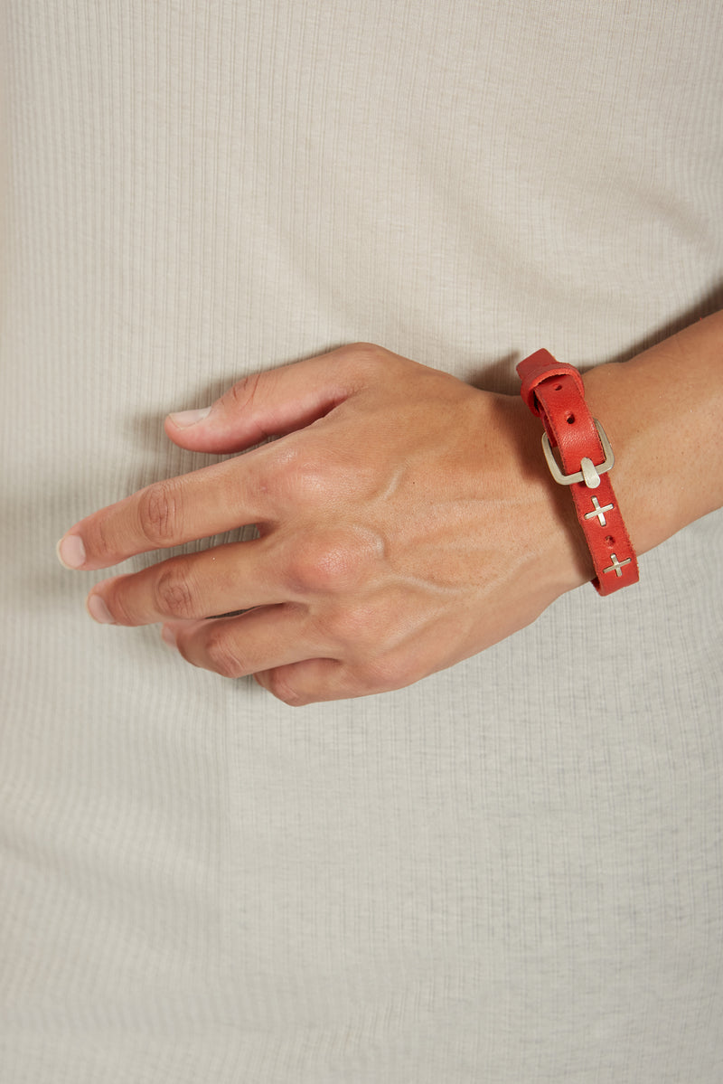 RED SMALL SILVER + ULTRA SKINNY WRISTBAND