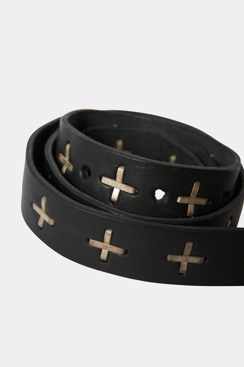 "BLACK ""+"" STUDDED Q BUCKLE MED BELT"