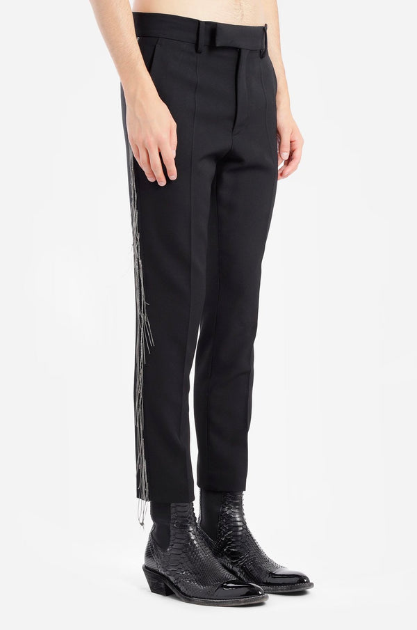 SKINNY CLASSIC PANTS W/CHAIN BAND AND HAND EMBROIDERY
