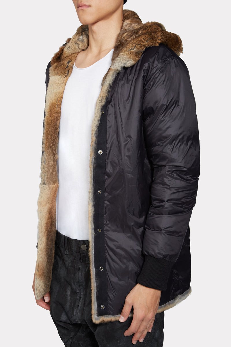 Black 96cm Fur Fishtail Parka