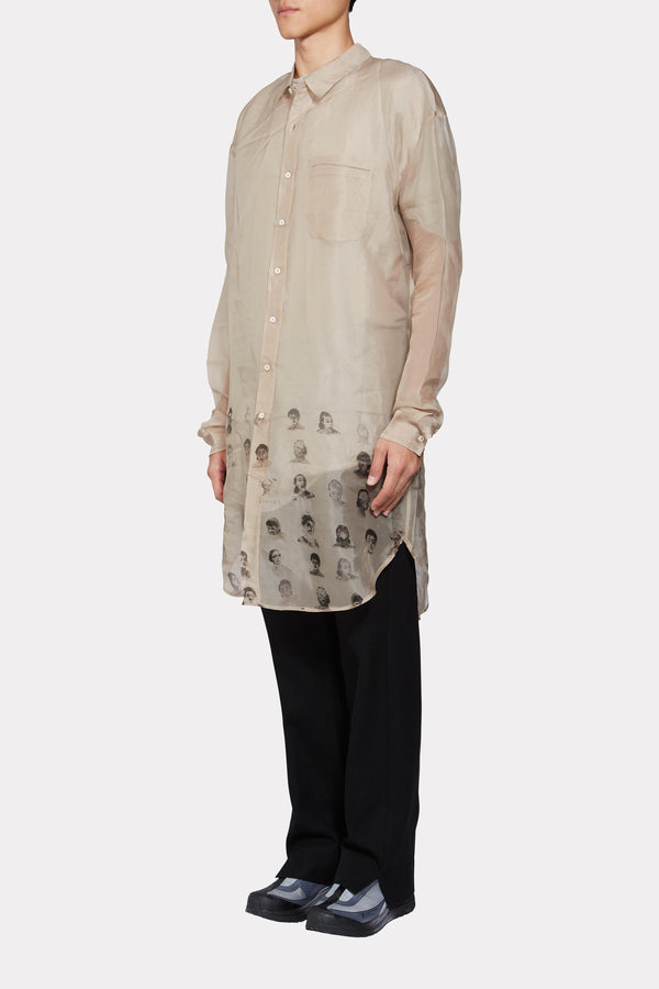 Long Silk Shirt with Faces