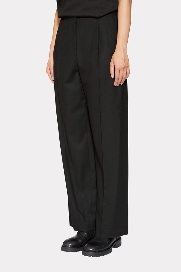 BLACK WOOL STRAIGHT WIDE LEG PANTS