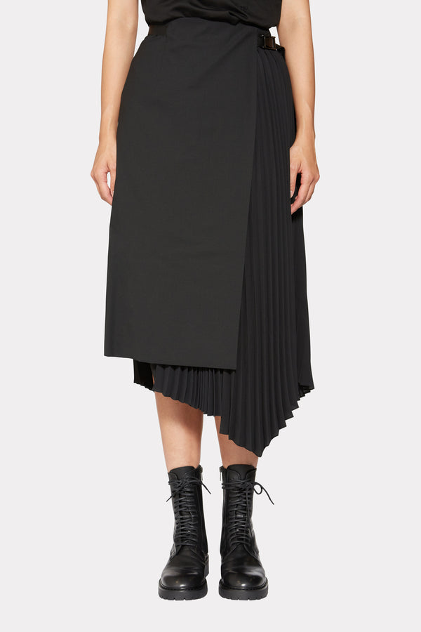 ASYMMETRIC PLEATED WRAP SKIRT WITH SIDE PANEL