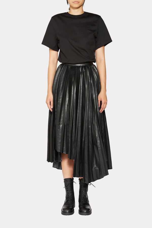 FAUX LEATHER ASYMMETRIC PLEATED SKIRT