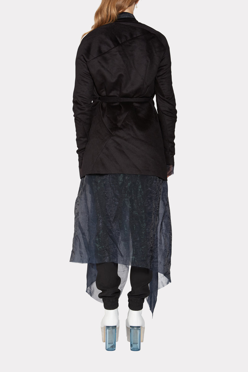Black and Blue Distortion Belted Curved Cashmere Coat