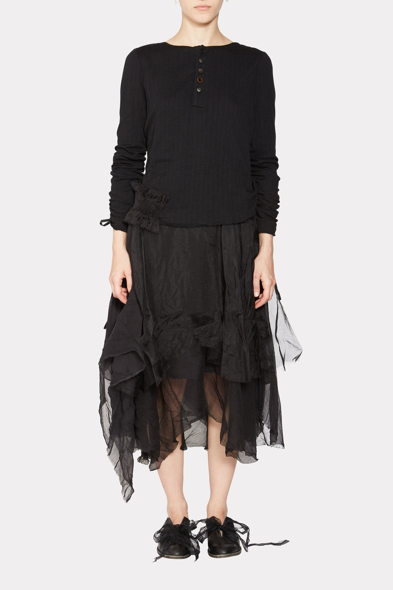 SOPWITH Black cotton layered knitted dress