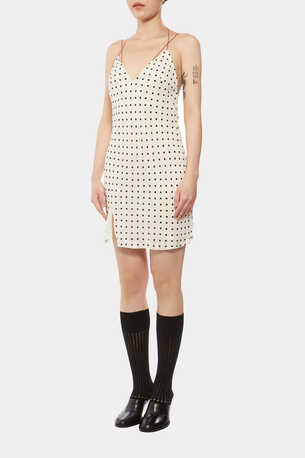 IVORY Polka-dot SHORT CAMISOLE DRESS