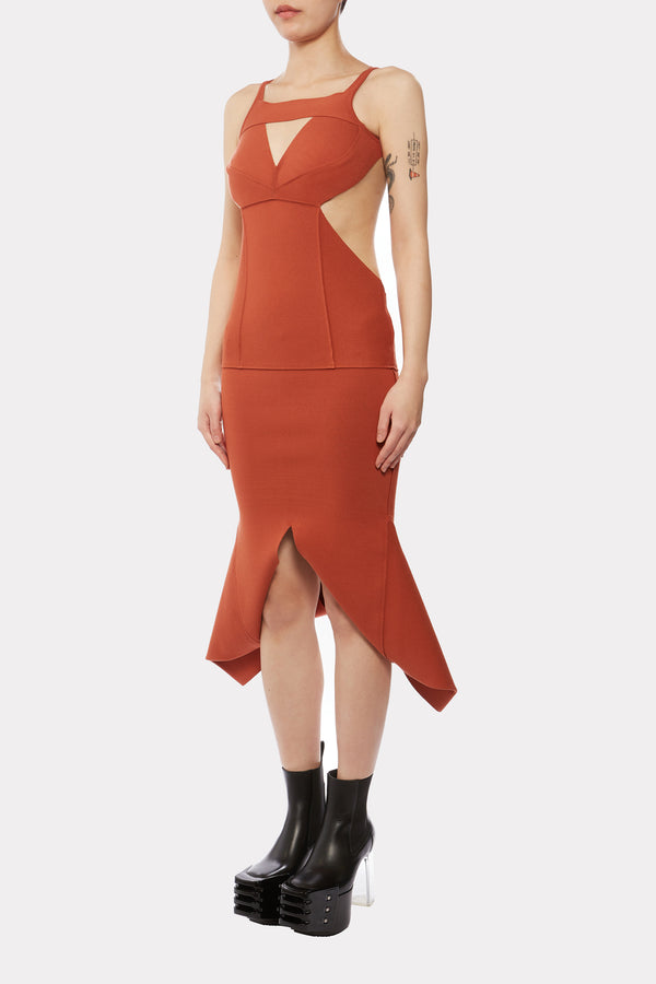 TANGERINE KNITTED SLING DRESS