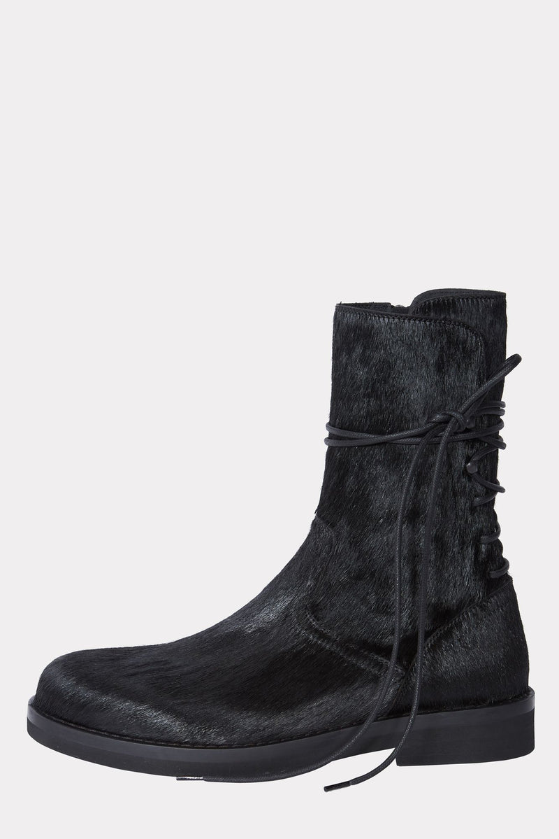 MENS CALF HAIR FLAT BACK LACED BOOTS - CHIRO NERO