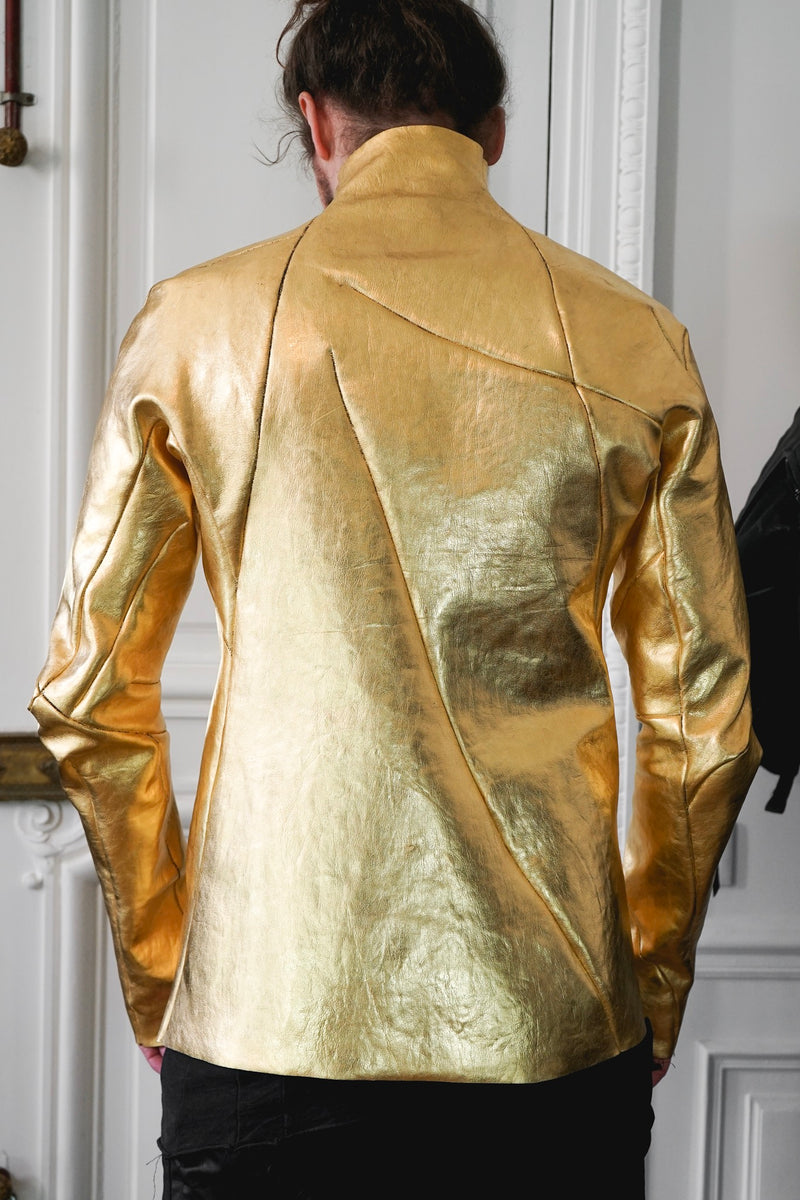 24K Gold Deconstructed Horse Leather Jacket