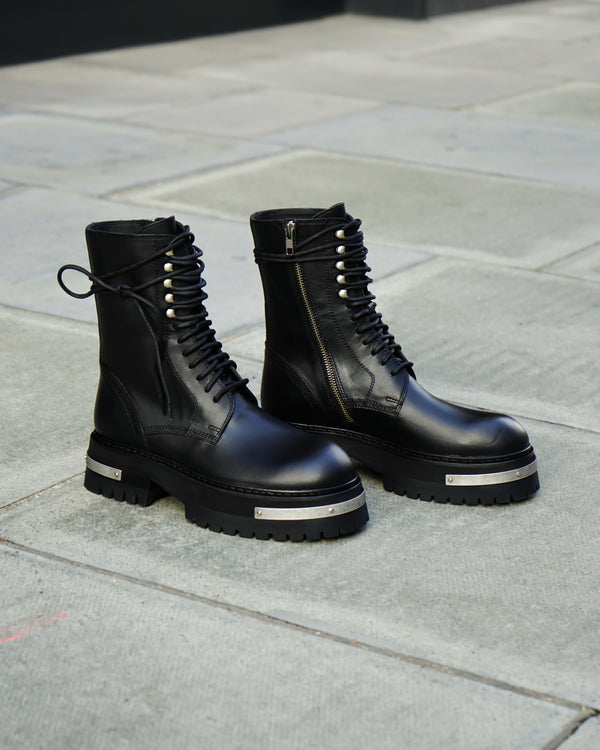 WOMENS METAL DETAILED PLATFORM LACED BOOTS - TUCSON NERO / A.S