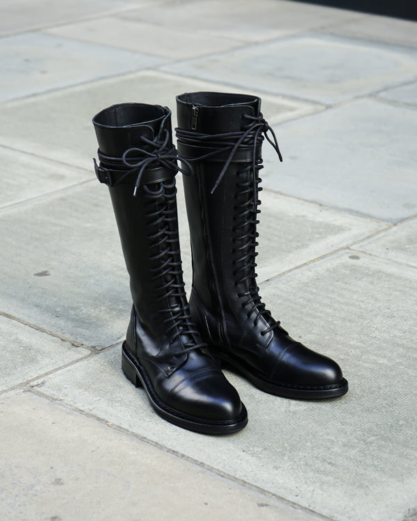 Lace-up lower knee-high leather boots