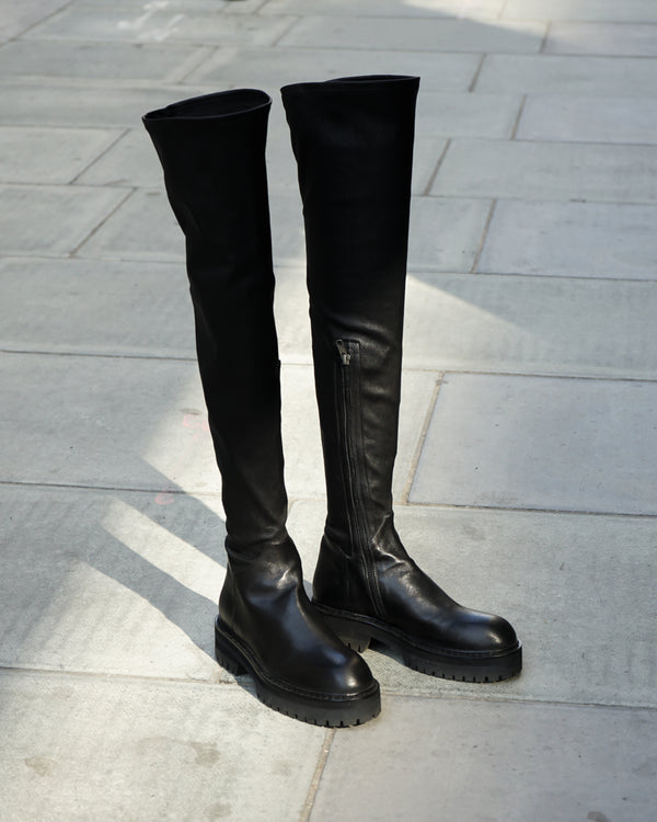 WOMENS OVER KNEE ZIP BOOTS - STRETCH LEATHER NERO