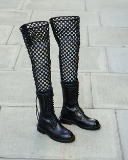 WOMENS RUNWAY NET LACED HIGH ZIP BOOTS - TUCSON NERO