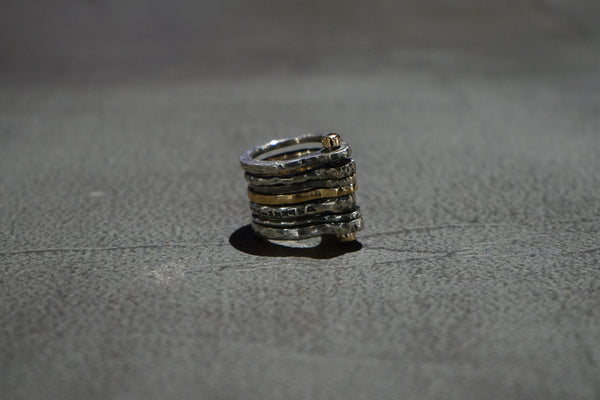 SILVER+BRONZE MULTIPLE RING