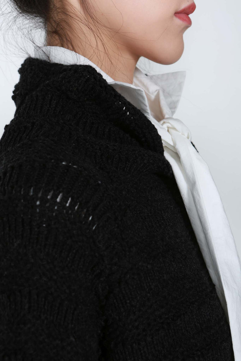 Black Laddered Knit High Neck Sweater