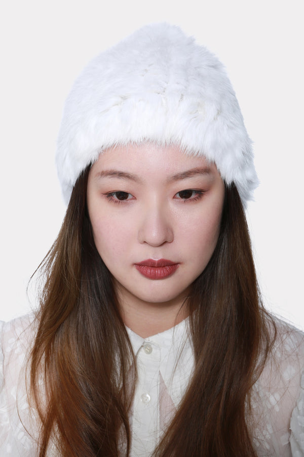WHITE KNITTED RABBIT STRETCH BEANIE HAT
