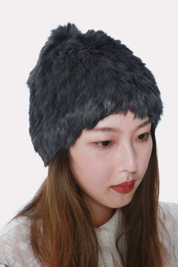 TITANIUM KNITTED RABBIT STRETCH BEANIE HAT