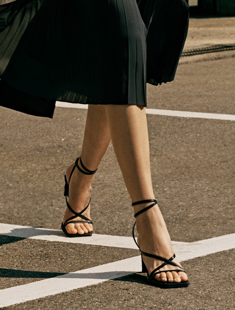 Leather Square Toe Strap Sandals
