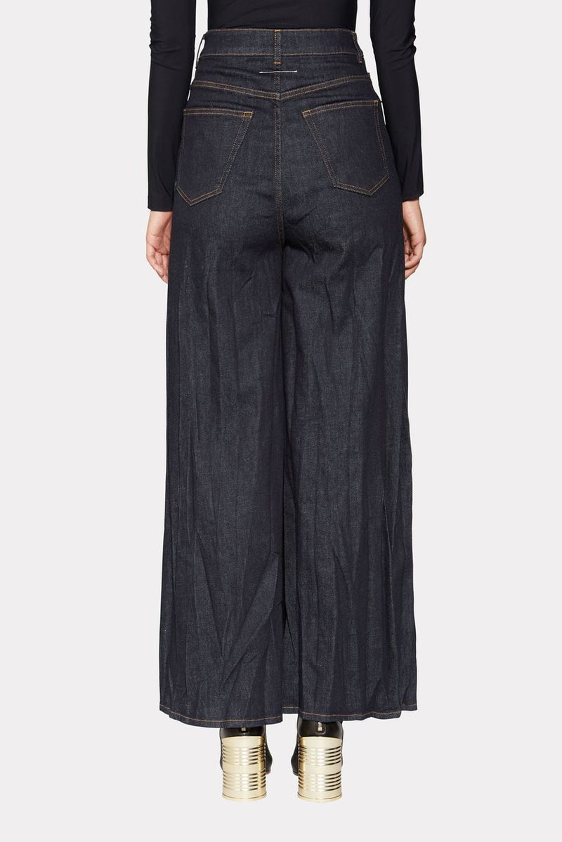 HIGH-RISE WIDE-LEG DENIM TROUSERS