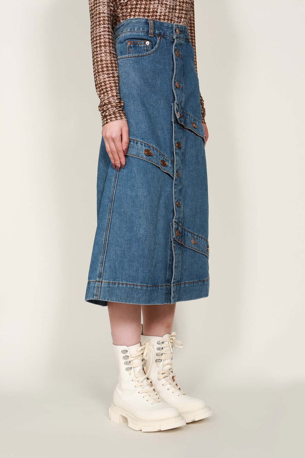Button Play Organic Cotton Denim Skirt