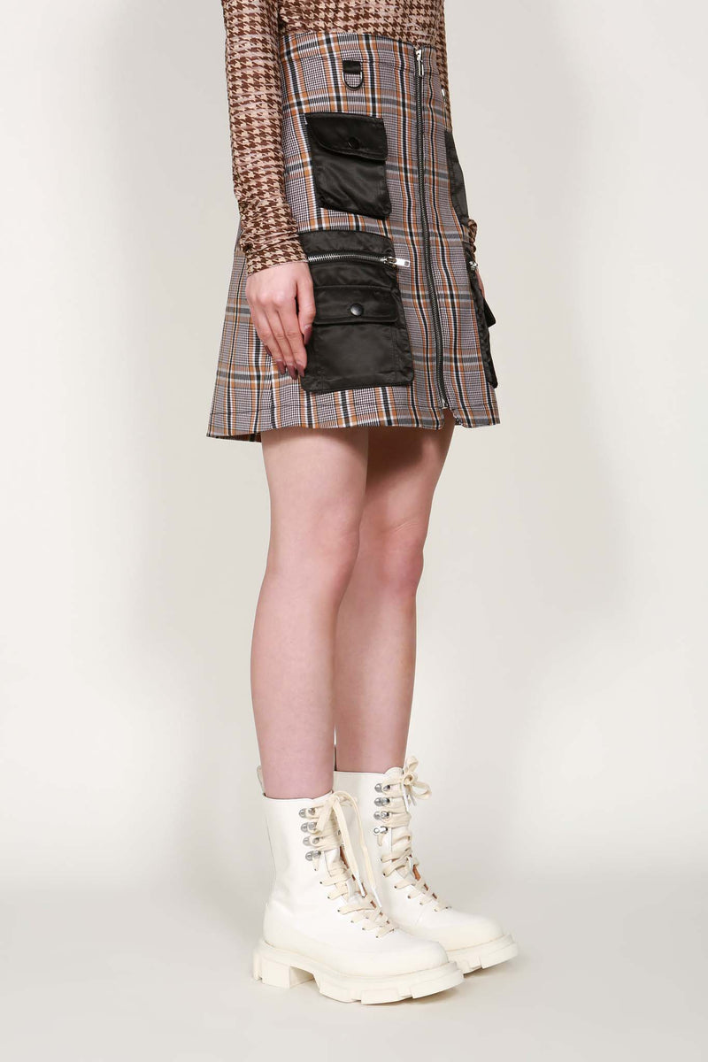Checked Pocket Detail Mini Skirt