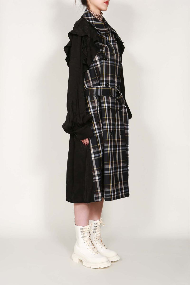 Check Ruffle Shoulder Detail Trench Coat