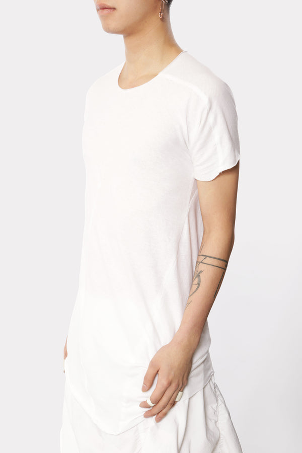 White Distortion Curved T-shirt