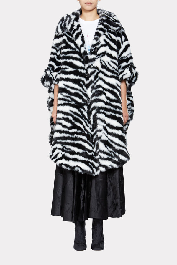 Oversized zebra stripe A-line coat