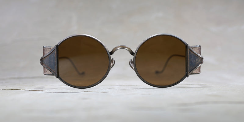 RIGARDS X UMA WANG Vintage bronze and amber shield sunglasses with bronze lens