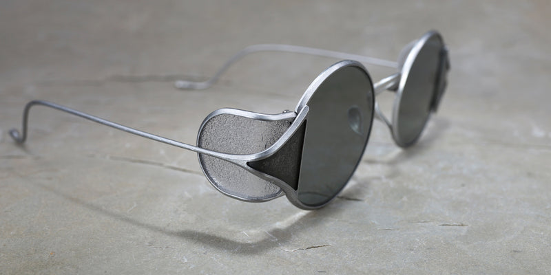 RIGARDS X UMA WANG VINTAGE PEWTER AND FROST SHIELD SUNGLASSES WITH GREY LENS